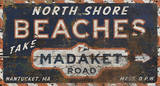 North Shore Beaches Vintage Wood Sign Wood Sign