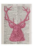 Pink Stag Art by Tina Carlson