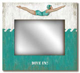 Retro Dive Girl: Dive In Mirror Wood Sign Wood Sign