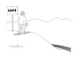 (A man stands at the top of a ski slope with a sign that shows 4 black dia… - New Yorker Cartoon Premium Giclee Print by Charlie Hankin