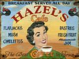 Hazels Café Vintage Wood Sign Wood Sign