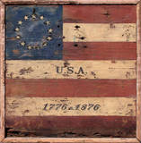 Centennial Flag USA Vintage Wood Sign Wood Sign