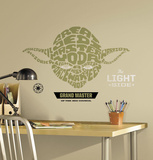 Star Wars - Typographic Yoda Peel and Stick Giant Wall Decal Wandtattoo