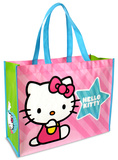 Hello Kitty - Pink Stripes Large Recycled Shopper Tote Bag Tote Bag