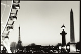 Eiffel Tower and Ferris Wheel, Paris, France Photographic Print by Theo Westenberger