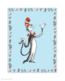 Cat in Hat Blue Border Collection I - The Cat in the Hat (blue bordered) Poster by Theodor (Dr. Seuss) Geisel