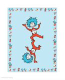 Cat in Hat Blue Border Collection III - Thing 1 & Thing 2 (blue bordered) Print by Theodor (Dr. Seuss) Geisel