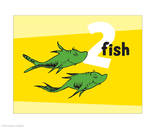 One Fish Two Fish Collection II - Two Fish (yellow) Prints by Theodor (Dr. Seuss) Geisel