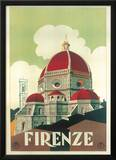 Firenze Cupola (Florence Dome) Italian Vintage Style Travel Poster Print