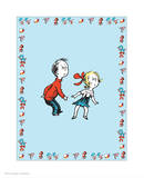 Cat in Hat Blue Border Collection II - Sally & Her Brother (blue bordered) Prints by Theodor (Dr. Seuss) Geisel