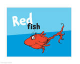 One Fish Two Fish Collection III - Red Fish (blue) Print by Theodor (Dr. Seuss) Geisel