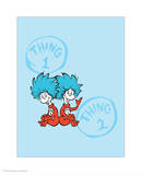 Cat in the Hat Blue Collection II - Things 1 & 2 Back to Back (blue) Prints by Theodor (Dr. Seuss) Geisel