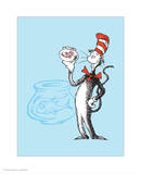 Cat in the Hat Blue Collection I - The Cat in the Hat with Fish (blue) Posters by Theodor (Dr. Seuss) Geisel