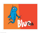 One Fish Two Fish Collection IV - Blue Fish (orange) Prints by Theodor (Dr. Seuss) Geisel
