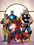 Marvel Adventures The Avengers No.39 Cover: Spider-Man, Thor, Wolverine and Captain America Prints by Casey Jones