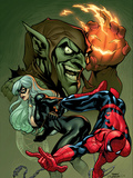 Marvel Knights Spider-Man No.10 Cover: Spider-Man, Black Cat and Green Goblin Prints by Dodson Terry