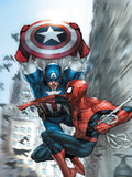 Avenging Spider-Man No.5 Cover: Spider-Man and Captain America Prints by Yu Leinil Francis