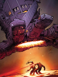 X-Men: Schism No.5 Cover: Wolverine and Cyclops Fighting with Sentinel Overhead Poster by Adam Kubert