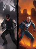 Captain America No.619 Cover: Winter Soldier and Steve Rogers Standing Ready Prints by Djurdjevic Marko