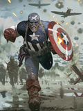 Captain America No.615 Cover: Captain America Running with his Shield Prints by Daniel Acuna