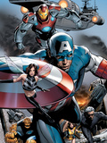 Ultimate Power No.6 Group: Captain America, Wasp, Iron Man, Thing, Quicksilver and Shadowcat Lámina por Greg Land