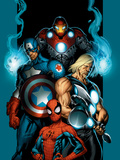 Ultimate Spider-Man No.70 Cover: Spider-Man, Thor, Captain America, Iron Man and Ultimates Print by Bagley Mark