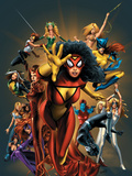 The Official Handbook Of The Marvel Universe: The Women of Marvel 2005 Cover: Spider Woman Charging Posters by Land Greg