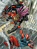 Scarlet Spider No.1: Spider-Man and Scarlet Spider Fighting and Falling Poster by Stegman Ryan