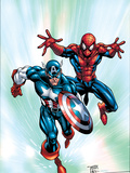 Marvel Age Team Up No.2 Cover: Spider-Man and Captain America Fighting and Flying Affischer av Randy Green