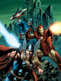 Thor No.81 Cover: Thor, Iron Man and Captain America Prints by Epting Steve