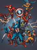 Official Handbook: Avengers 2005 Cover: Captain America, Hulkling and Cage Posters by Grummett Tom