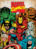 Marvel Comics Retro: Hulk, Thor, Spider-Man, Wolverine, Captain America, Iron Man, and Thing Prints