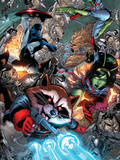 Guardians Of The Galaxy No.8 Group: Rocket Raccoon, Major Victory, Bug and Mantis Prints by Walker Brad