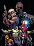 Ultimate Avengers No.3 Cover: Red Wasp, Hulk, Spider-Man, Hawkeye, Nick Fury and War Machine Prints by Carlos Pacheco