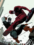 Daredevil No.2 Cover: Daredevil and Captain America Fighting Prints by Rivera Paolo