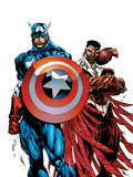 Captain America & The Falcon No.1 Cover: Captain America and Falcon Poster by Sears Bart