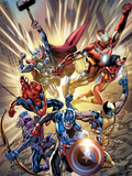 Avengers No.12.1 Cover: Captain America, Hawkeye, Wolverine, Spider-Man, Iron Man, and Others Poster by Bryan Hitch