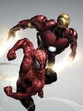 Carnage No.1 Cover: Spider-Man and Iron Man Flying Posters par Henry Clayton