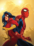 New Avengers No.59 Cover: Spider-Man and Spider Woman Posters by Immonen Stuart