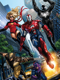 Ms. Marvel No.44 Group: Iron Patriot, Wolverine, Hawkeye, Ms. Marvel and Spider-Man Posters by Takeda Sana