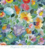 Turqouise Textile Garden Poster par Kim Parker