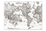World Map White Prints by Kristin Emery