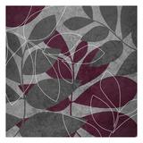 Grey Purple Leaves 1 Print by Kristin Emery