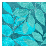 Turquoise Leaves 2 Print by Kristin Emery