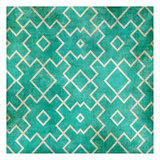 Tan on Teal Pattern Print by Kristin Emery