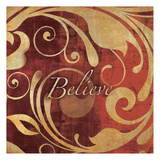 Red Gold Believe Prints by Kristin Emery