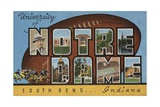 University of Notre Dame South Bend Indiana Postcard Giclée-trykk