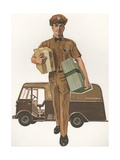 Illustration of Man Delivering Packages Giclee Print