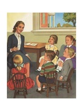 Calendar Illustration of Children Singing in Sunday School Giclee Print