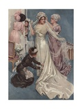 Illustration of a Bride Being Dressed Giclee Print by Harrison Fisher